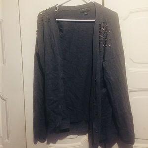 Forever 21+ Grey Spike Shoulder Sweater